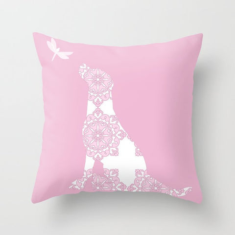 Pink Labrador Dog Cushion Cover