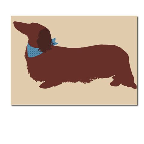 Long haired dachshund dog - Fine Art Print, sausage dog, long haired, brown color
