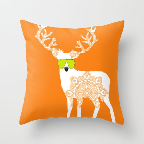 Damask Reindeer Cushion Cover