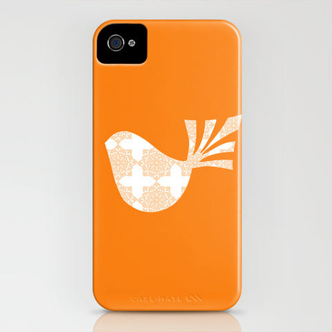 Bird with orange floral design on phone case