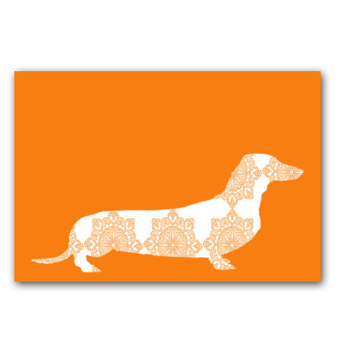 Floral Dachshund Dog on Orange - Fine Art Print