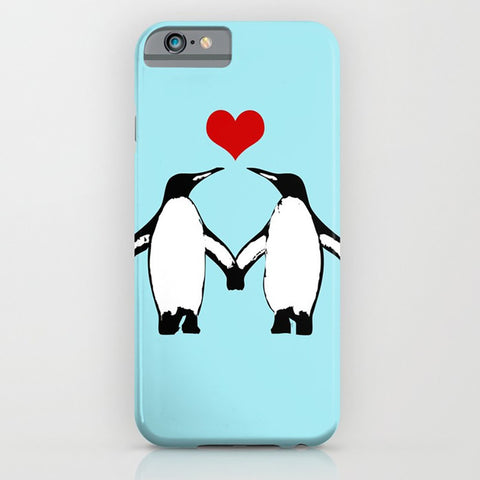 Penguins love on phone case