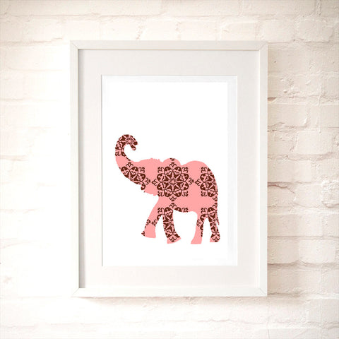Pink And Brown Damask Elephant Art Print