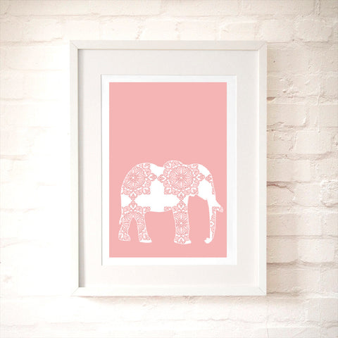 Pink Damask Elephant Art Print