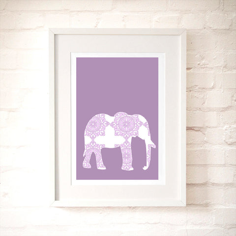 Purple Damask Elephant Art Print