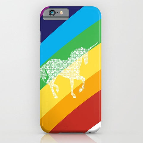Unicorn on rainbow phone case