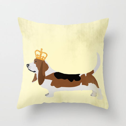 Royal Basset Hound Dog Cushion Cover- Cushion, Cushions covers, Gift For Basset Hound,  Lovers, Dog Art Prints