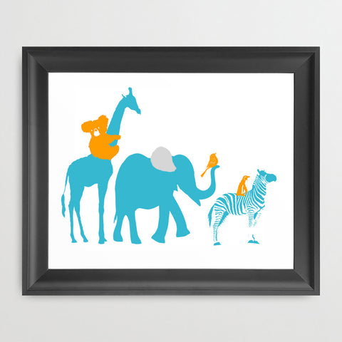 Safari Parade Art Print