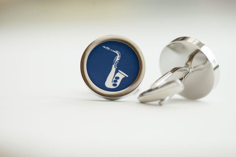Saxophone on cufflinks - Musical cufflinks, Men's Cufflinks, Husband, Wedding gift, Novelty cufflinks for him