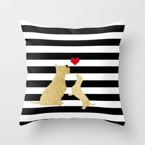 Schnauzer Dog and Dachshund on Cushion Cover- Cushion, Cushions covers, Gift For Schnauzer,  Dachshund, Lovers, Dog Art Prints