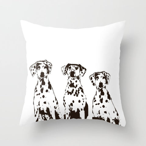 Three Dalmatians on Cushion Cover- Cushion, Cushions covers, Gift For Dalmatians, Lovers, Dog Art Prints