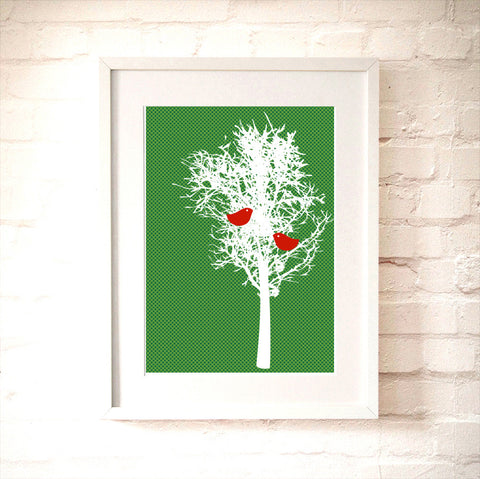 Love Birds on Tree  - red birds pecking, winter tree, green pattern, Art print