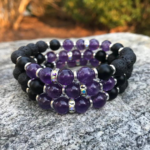 Amethyst and Onyx Lava Diffuser Bracelet