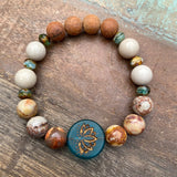 Teal Lotus & Birds Eye Rhyolite Bayong Wood Diffuser Bracelet