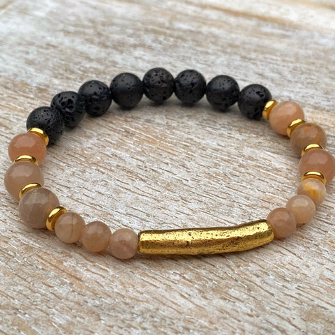Golden Good Vibes | Sunstone & Antiqued Gold Diffuser Bracelet
