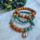 Barton Springs | Amazonite, Sunstone & Czech Glass Diffuser Bracelet Stack