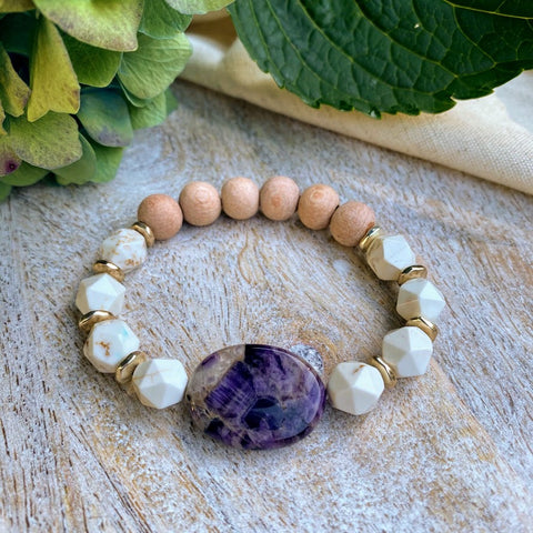 Amethyst & Starcut White Turquoise and Rosewood Diffuser Bracelet