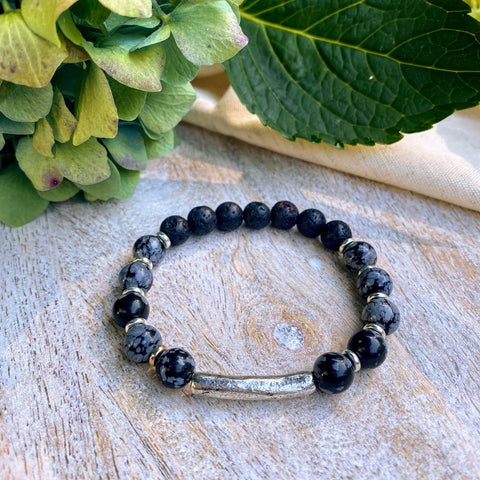 Balanced & Focused | Snowflake Obsidian & Antiqued Silver Diffuser Bracelet