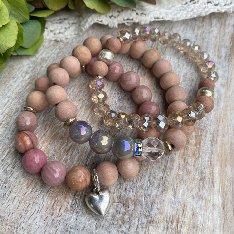 i love you so much | Amethyst, Pink Rhodonite & Czech Glass Diffuser Bracelet Stack