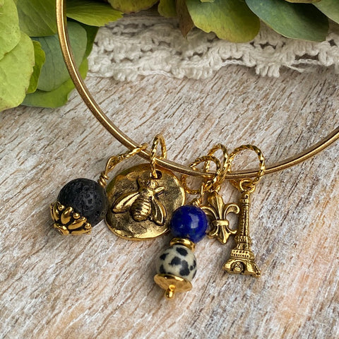 Amour de Paris | Gold Hammered Bangle Charm Diffuser Bracelet