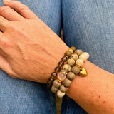 Hill Country | Riverstone, Tiger Jasper & Czech Glass Diffuser Bracelet Stack