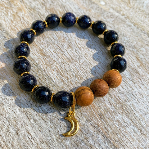 Luna Midnight | Blue Goldstone & Bayong Wood Crescent Moon Diffuser Bracelet