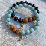Luna Light | Matte Amazonite & Bayong Wood Moon Diffuser Bracelet