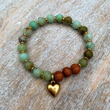 Happy Heart | Chrysoprase & Bayong Wood Gold Heart Charm Diffuser Bracelet
