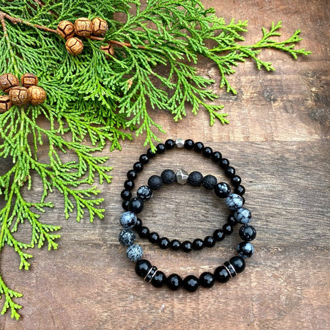 The Black Stack | Onyx & Snowflake Obsidian Diffuser Bracelet Set