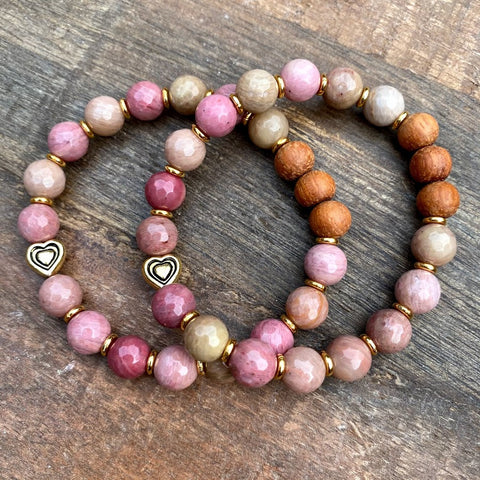 In My Heart | Pink Rhodonite Diffuser Bracelet Set