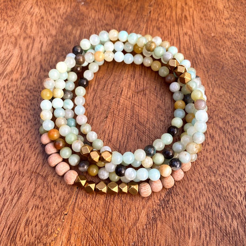 Calm Wrap | Amazonite & Rosewood Wrap Style Diffuser Bracelet or Necklace