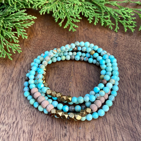 Aware Wrap | Turquoise & Rosewood Wrap Diffuser Bracelet