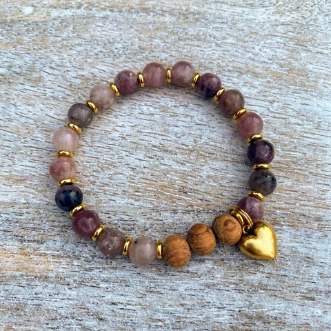 Peaceful Heart | Lepidolite & Bayong Wood Gold Heart Charm Diffuser Bracelet