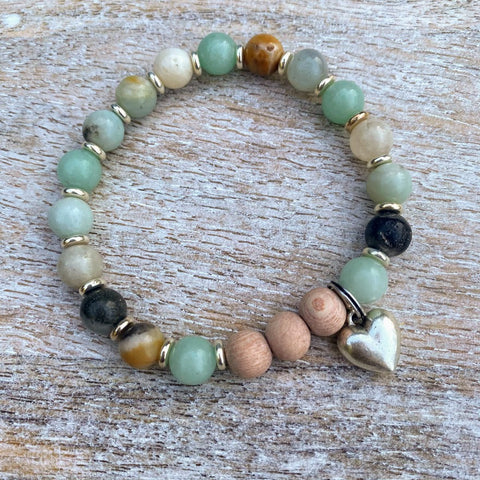 Healing Heart | Rainbow Amazonite & Rosewood Silver Heart Charm Diffuser Bracelet