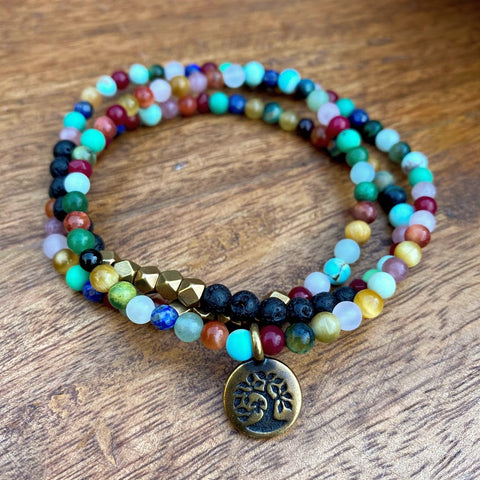 Beautiful Life Wrap | Rainbow Gemstone & Lava Wrap Diffuser Bracelet or Necklace