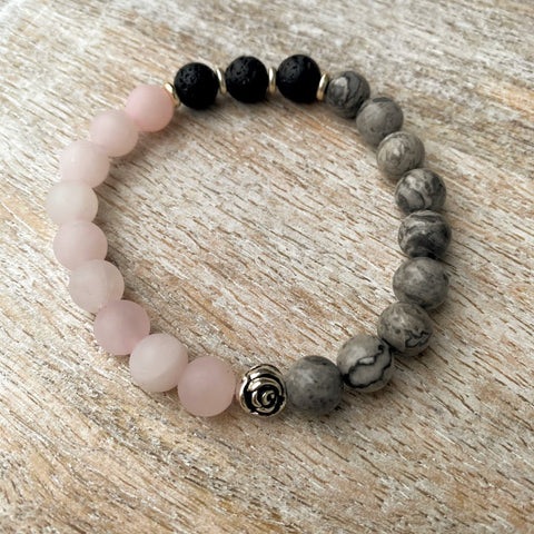Grounded Love | Matte Rose Quartz & Leopard Jasper Harmony Diffuser Bracelet