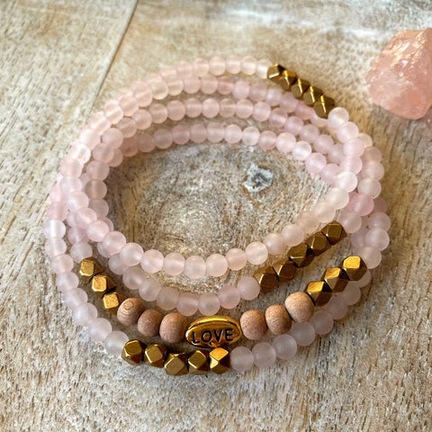 Matte Rose Quartz Love Wrap Diffuser Bracelet