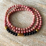 Love Wrap | Pink Rhodonite & Lava Wrap Diffuser Bracelet or Necklace