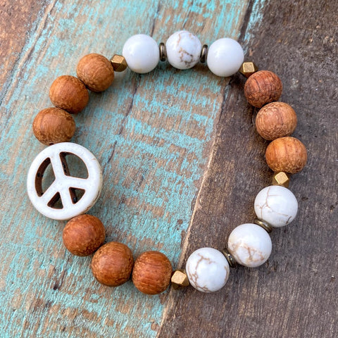 Peace | White Turquoise & Bayong Wood Diffuser Bracelet