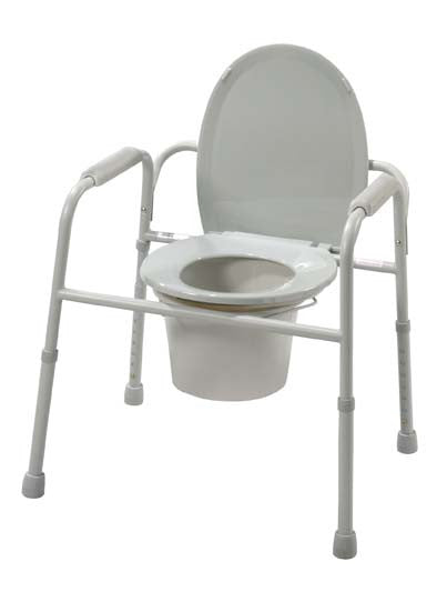 Drive Medical Steel Commode with Plastic Armrests