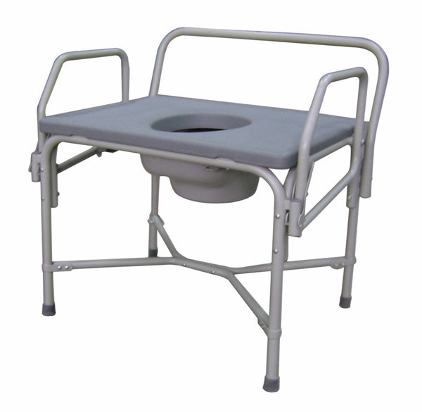 Steel Bariatric Drop-Arm Commode