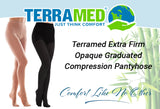 Extra Firm Opaque Graduated Compression Pantyhose, Support Hose Surgical Stockings - 20-30mmHg - Terramed.info