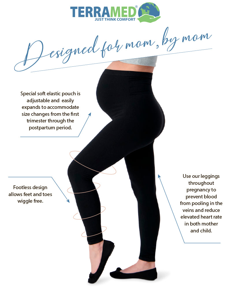 Microfiber Footless Maternity Compression Leggings Over The Belly Terramed Maternity Leggings Compression Stockings Women 20-30 mmHg Graduated Compression Stockings Women Pregnancy