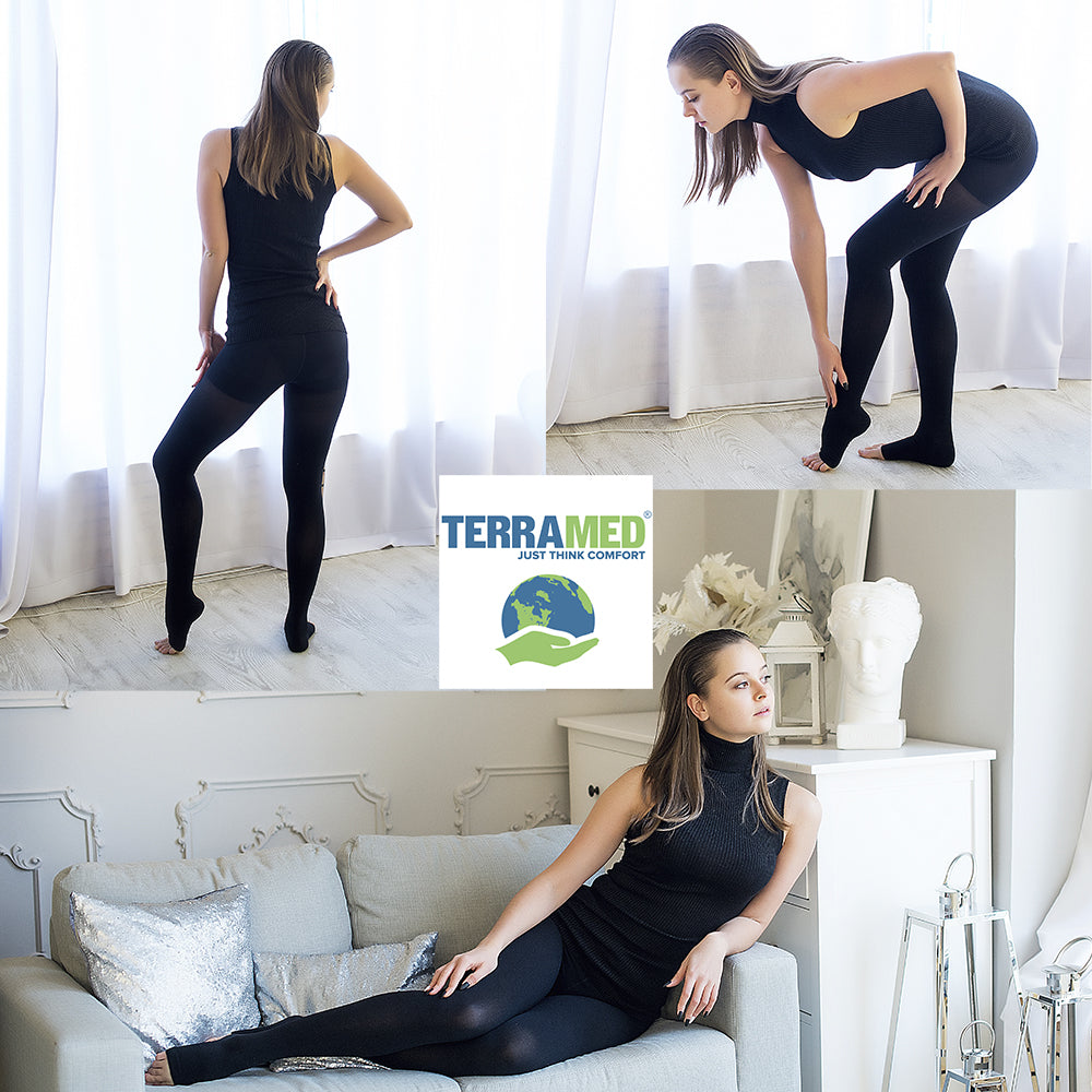Terramed Extra Firm Opaque Compression Stockings Pantyhose Open Toe - Terramed.info