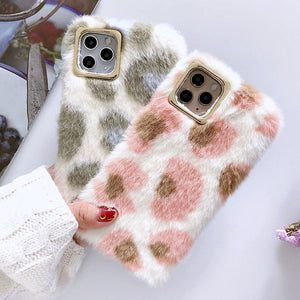 Cute Leopard Pattern Fluffy iPhone Case