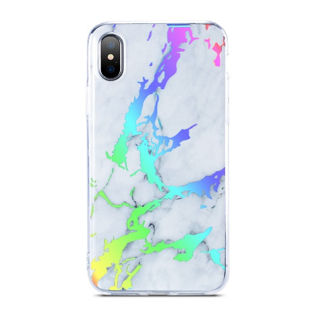 Luxury Holographic Glossy Marble iPhone Case