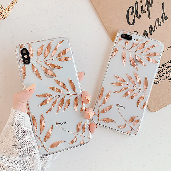 Rose Gold Leaves iPhone Case
