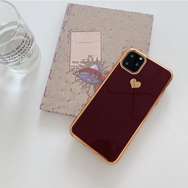 Glossy Heart Gold Frame iPhone Case