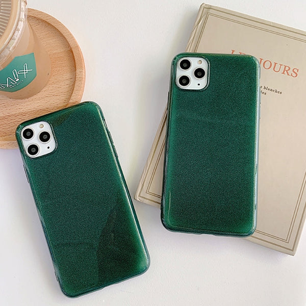 Dark Green Glitter iPhone Case