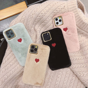 Cute Heart Fluffy iPhone Case